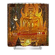 Large Buddha Image In Wat Tha Sung Temple In Uthaithani-thailand Shower Curtain