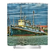 Large Fishing Boat Hdr Shower Curtain