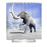 Large Mammoth Walking Slowly Shower Curtain by Elena Duvernay
