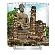 Large Sitting Buddha At Wat Mahathat In 13th Century Sukhothai H Shower Curtain
