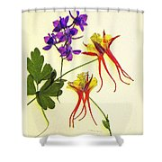 Larkspur And Columbine Shower Curtain