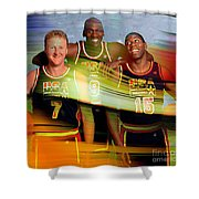 Larry Bird Michael Jordon And Magic Johnson Shower Curtain by Marvin Blaine