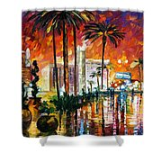 Las Vegas - Palette Knife Oil Painting On Canvas By Leonid Afremov Shower Curtain
