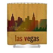 Las Vegas Skyline Watercolor On Parchment Shower Curtain