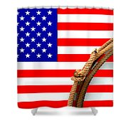 Lasso And American Flag Shower Curtain
