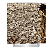 Lasso And Hat On Fence Post Shower Curtain by Olivier Le Queinec