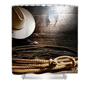 Lasso In Old Barn Shower Curtain