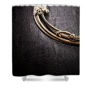 Lasso On Leather Shower Curtain by Olivier Le Queinec