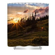 Last Light At Cedar Shower Curtain by Chad Dutson