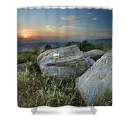 Last Light At The Windy Mountains Shower Curtain