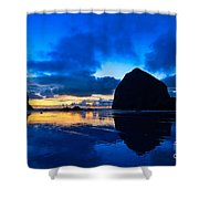 Last Light - Cannon Beach Sunset With Reflection In Oregon The Coast Shower Curtain