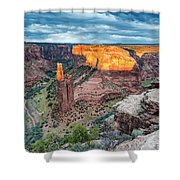 Last Light On Spider Rock Canyon De Chelly Navajo Nation Chinle Arizona Shower Curtain