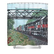 Last Train Under The Bridge Shower Curtain by Cliff Wilson