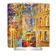 Last Trolley - Palette Knife Oil Painting On Canvas By Leonid Afremov Shower Curtain