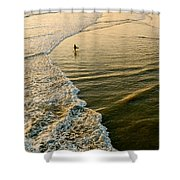 Last Wave - Lone Surfer Waiting For The Perfect Wave In Huntington Beach Shower Curtain