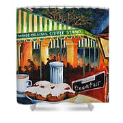 Late At Cafe Du Monde Shower Curtain