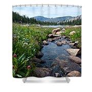 Late Summer Mountain Landscape Shower Curtain