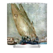 Latini Boat Entering Grand Harbour Valletta  Shower Curtain