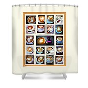 Latte Art Collage Shower Curtain