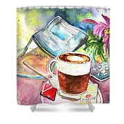 Latte Macchiato In Italy 01 Shower Curtain by Miki De Goodaboom