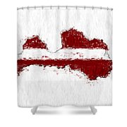 Latvia Painted Flag Map Shower Curtain