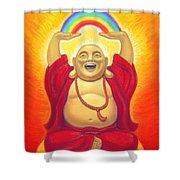 Laughing Rainbow Buddha Shower Curtain