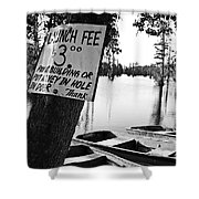 Launch Fee -bw Shower Curtain