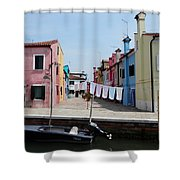 Laundry Day In Burano Shower Curtain