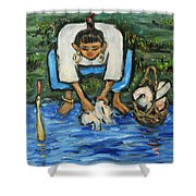 Laundry Girl Shower Curtain
