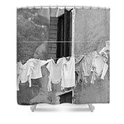 Laundry I Black And White Venice Italy Shower Curtain