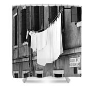 Laundry IIi Black And White Venice Italy Shower Curtain
