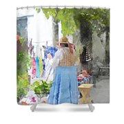 Laundry Line Under The Grape Arbor Shower Curtain