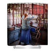 Laundry - Miss Lady Blue  Shower Curtain by Mike Savad
