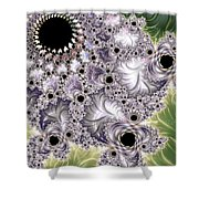 Lavender And Green Fractal Abstract  Shower Curtain