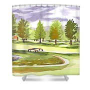 Lavender And Green Shower Curtain