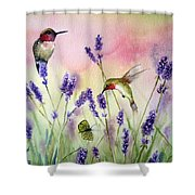 Lavender And Hummingbirds Shower Curtain
