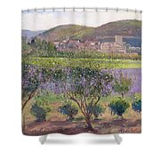 Lavender Seen Through Quince Trees Shower Curtain