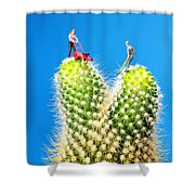 Lawn Mowing On Cactus Shower Curtain