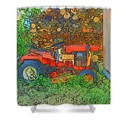 Lawn Tractor And Wood Pile Shower Curtain