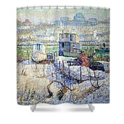 Lawson's Boathouse -- Winter -- Harlem River Shower Curtain