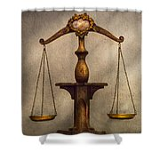 Lawyer - Scale - Fair And Just Shower Curtain by Mike Savad