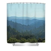 Layers Of Forest And Bllue Sky Shower Curtain