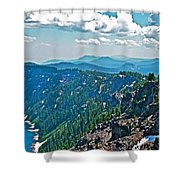 Layers Of Mountains From Watchman Overlook In Crater Lake National Park-oregon  Shower Curtain