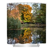 Lazienki Park Autumn Scenery In Warsaw Shower Curtain