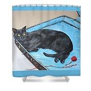 Lazy Black Cat Shower Curtain