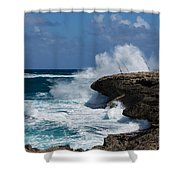 Lazy Fishing From The Rocks - No Fishermen Shower Curtain