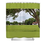 Lazy Sunday Afternoon - Cricket On The Village Green Shower Curtain