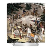 Le Pinde - Plate Xi, Engraved Shower Curtain
