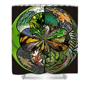 Leaf Collage Orb Shower Curtain