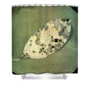 Leaf On Green Fabric Shower Curtain